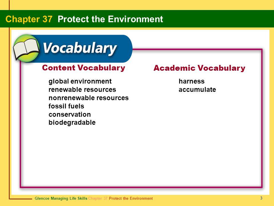 Glencoe Managing Life Skills Chapter 37 Protect the Environment Chapter 37 Protect the Environment 3 Content Vocabulary Academic Vocabulary global env