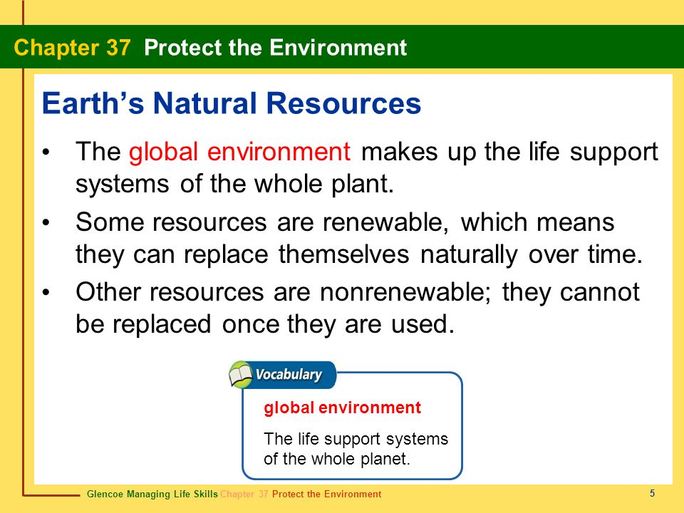 Glencoe Managing Life Skills Chapter 37 Protect the Environment Chapter 37 Protect the Environment 36 recycled-content products productos de contenido reciclado Items made partially or totally from materials that might have ended up in a landfill.