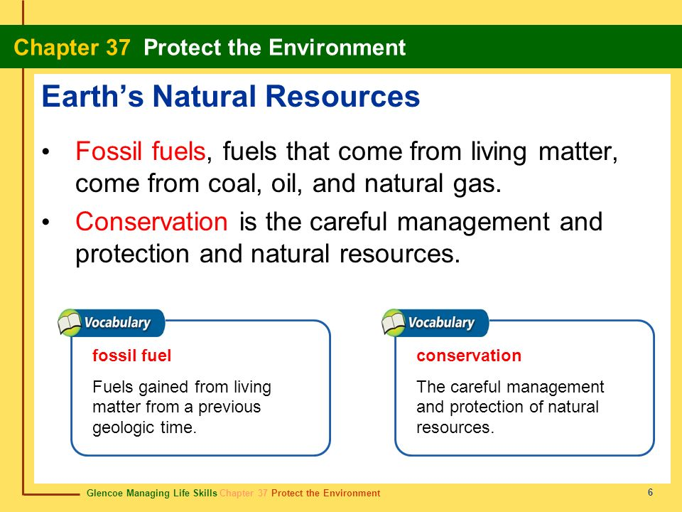 Glencoe Managing Life Skills Chapter 37 Protect the Environment Chapter 37 Protect the Environment 6 Earths Natural Resources Fossil fuels, fuels that