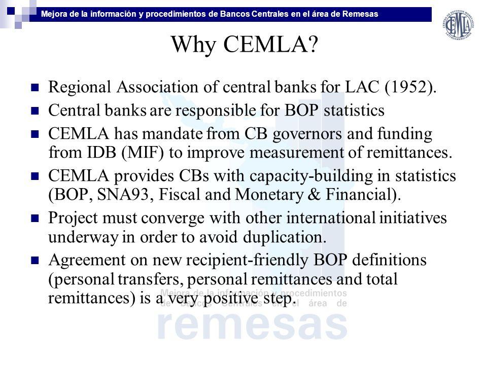 Mejora de la información y procedimientos de Bancos Centrales en el área de Remesas Why CEMLA.