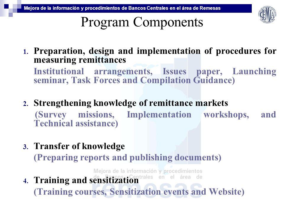 Mejora de la información y procedimientos de Bancos Centrales en el área de Remesas Program Components 1.