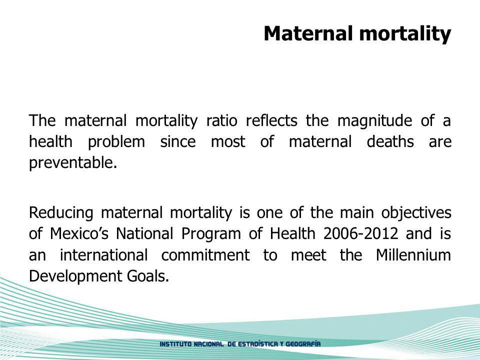 Maternal mortality The maternal mortality ratio reflects the magnitude of a health problem since most of maternal deaths are preventable. Reducing mat