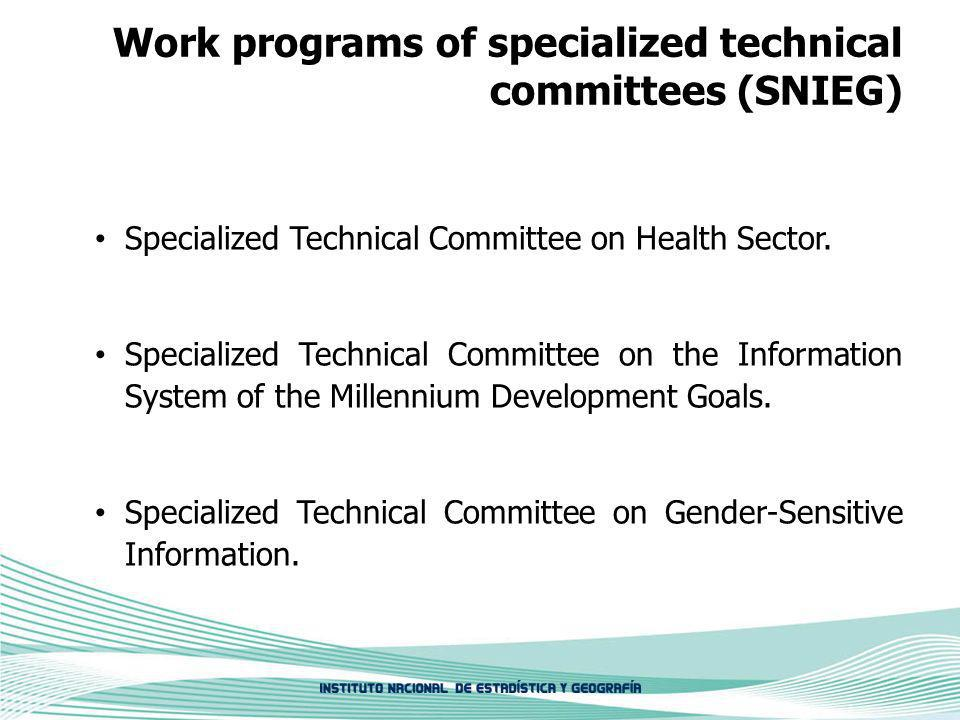 Work programs of specialized technical committees (SNIEG) Specialized Technical Committee on Health Sector.
