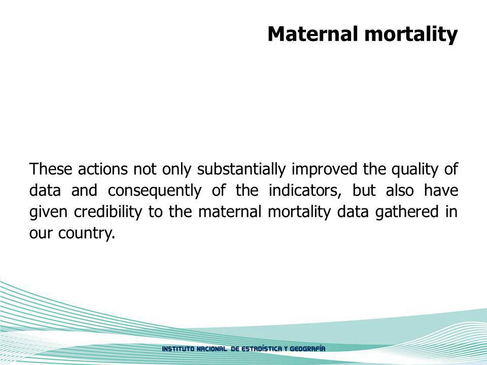 Maternal mortality These actions not only substantially improved the quality of data and consequently of the indicators, but also have given credibility to the maternal mortality data gathered in our country.