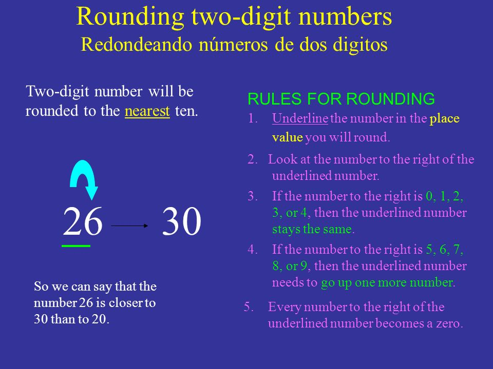 Rounding two-digit numbers Redondeando números de dos digitos 26 1.Underline the number in the place value you will round. 2. Look at the number to th