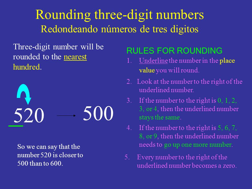 Rounding three-digit numbers Redondeando números de tres digitos 520 1.Underline the number in the place value you will round. 2. Look at the number t