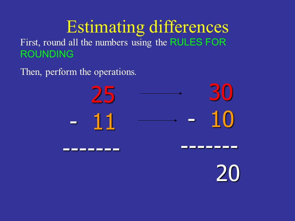 Estimating differences 25 - 11 ------- 25 - 11 ------- First, round all the numbers using the RULES FOR ROUNDING Then, perform the operations. 30 - 10
