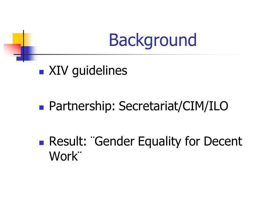 Background XIV guidelines Partnership: Secretariat/CIM/ILO Result: ¨Gender Equality for Decent Work¨