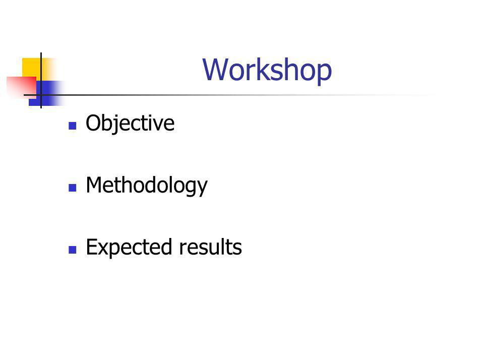 Workshop Objective Methodology Expected results