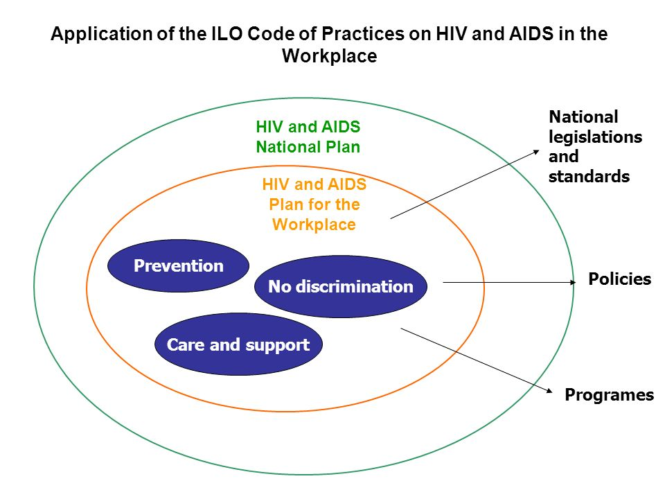 Prevention Care and support No discrimination HIV and AIDS Plan for the Workplace HIV and AIDS National Plan National legislations and standards Policies Programes Application of the ILO Code of Practices on HIV and AIDS in the Workplace