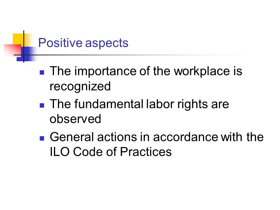 The importance of the workplace is recognized The fundamental labor rights are observed General actions in accordance with the ILO Code of Practices P