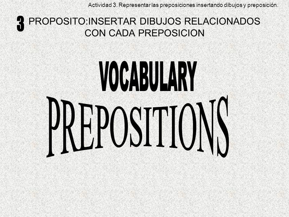 PROPOSITO:INSERTAR DIBUJOS RELACIONADOS CON CADA PREPOSICION Actividad 3.