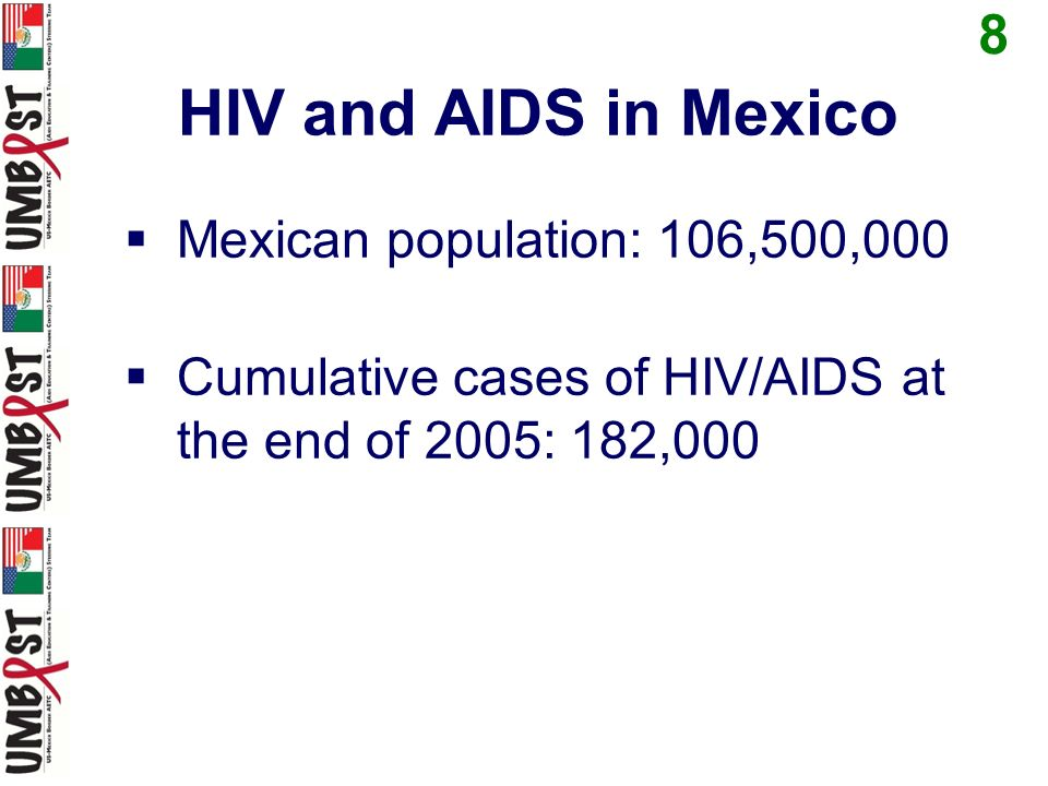 HIV and AIDS in Mexico Mexican population: 106,500,000 Cumulative cases of HIV/AIDS at the end of 2005: 182,000 8