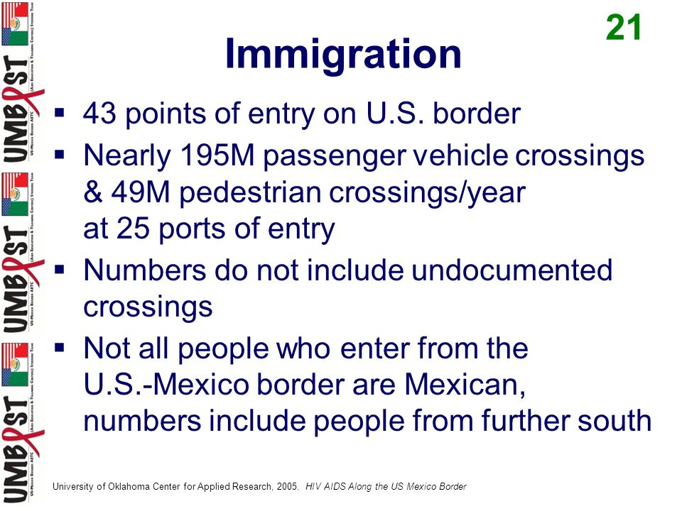 43 points of entry on U.S. border Nearly 195M passenger vehicle crossings & 49M pedestrian crossings/year at 25 ports of entry Numbers do not include