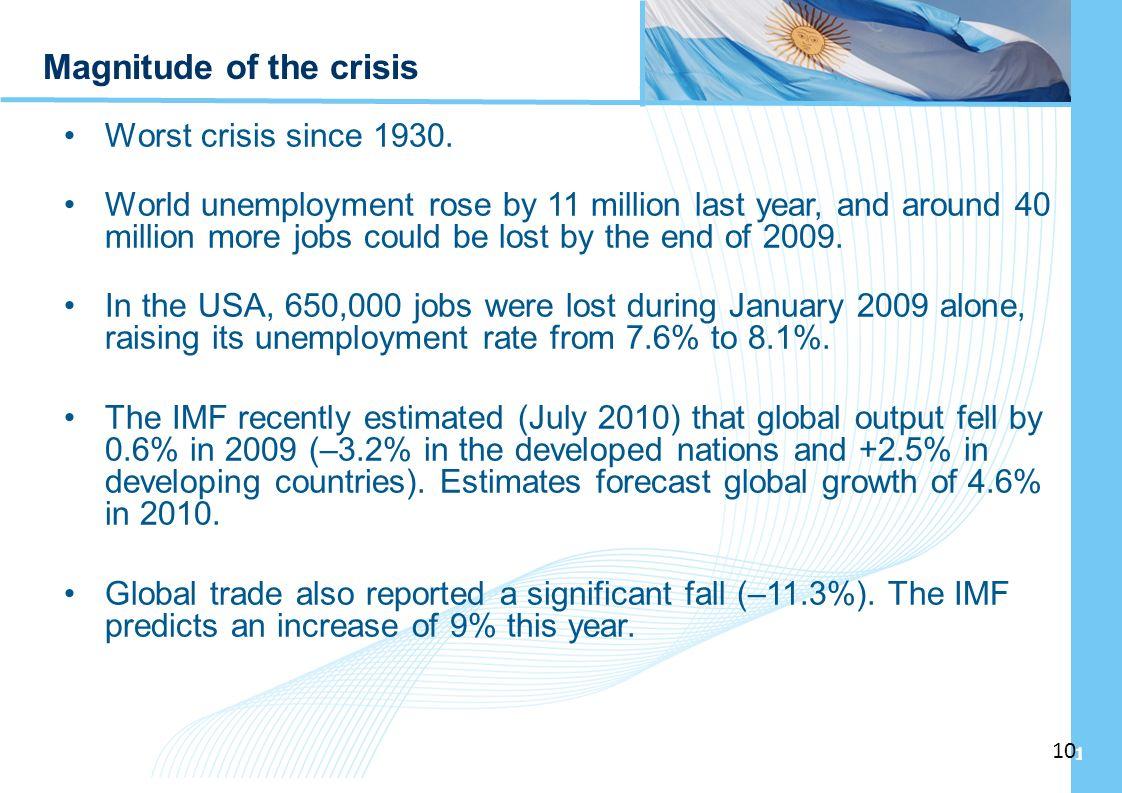 Ampliación del Sistema de Protección Social en Argentina - Período 2003-2010 10 Magnitude of the crisis Worst crisis since 1930. World unemployment ro