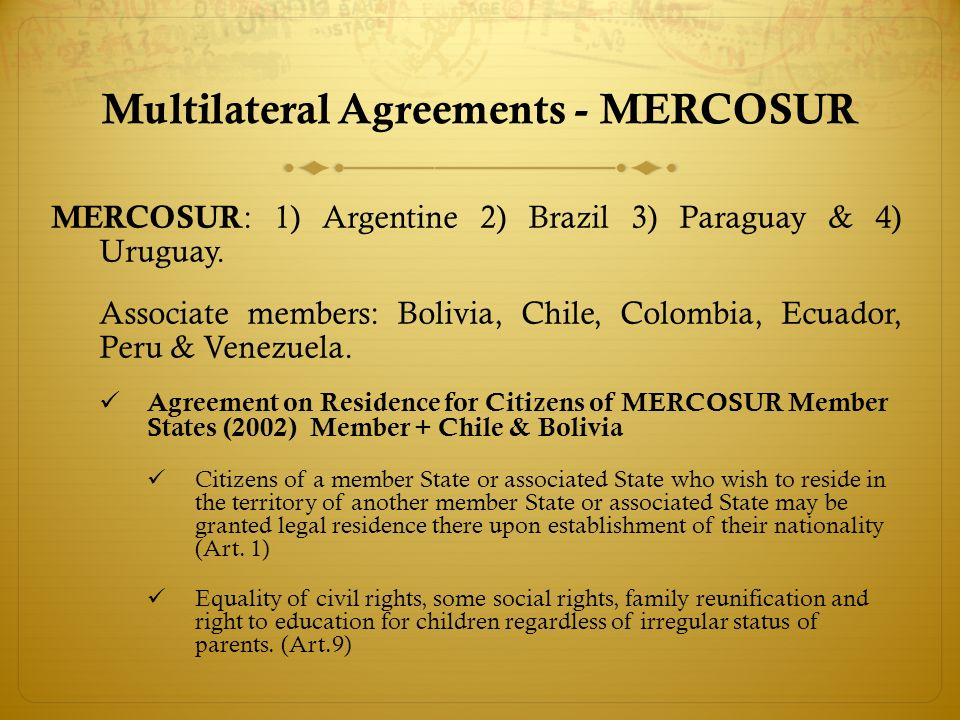 MERCOSUR Nationality Criterion/Argentina In order to be able to reside in Argentina, MERCOSUR citizens may avail themselves of the nationality criterion without any other immigrant admission criterion, for instance being a worker, student, investor.