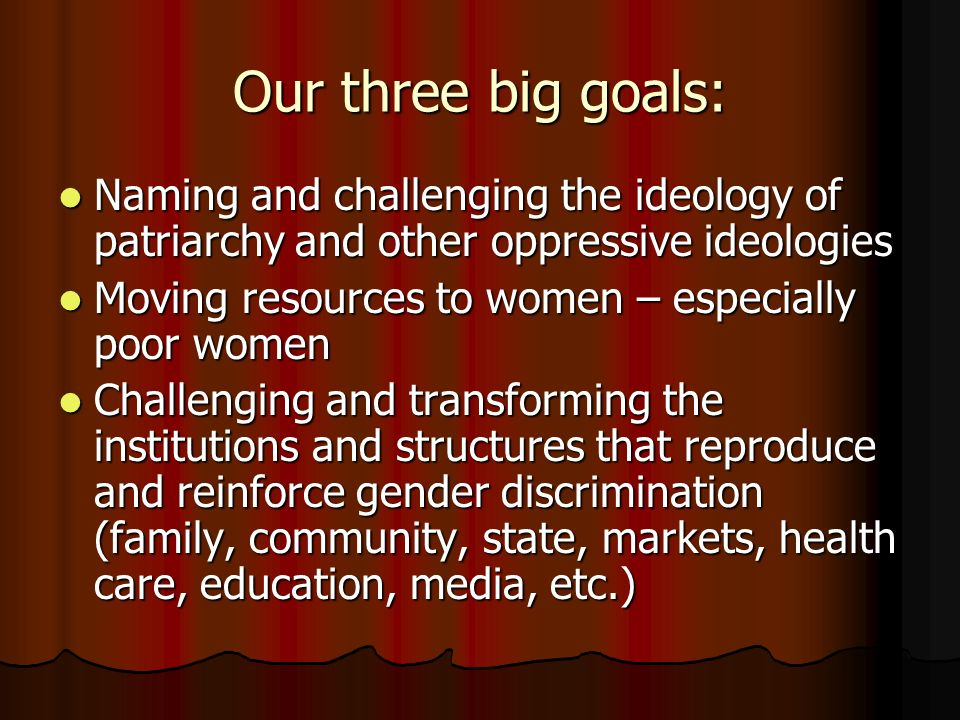 Our three big goals: Naming and challenging the ideology of patriarchy and other oppressive ideologies Naming and challenging the ideology of patriarchy and other oppressive ideologies Moving resources to women – especially poor women Moving resources to women – especially poor women Challenging and transforming the institutions and structures that reproduce and reinforce gender discrimination (family, community, state, markets, health care, education, media, etc.) Challenging and transforming the institutions and structures that reproduce and reinforce gender discrimination (family, community, state, markets, health care, education, media, etc.)