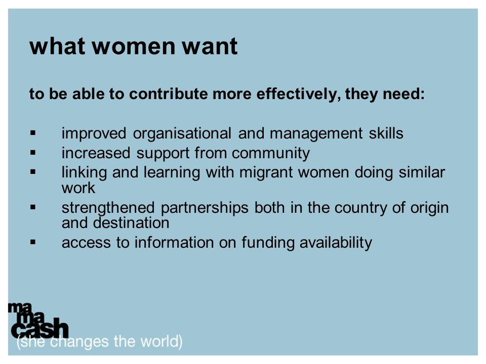 what women want to be able to contribute more effectively, they need: improved organisational and management skills increased support from community l