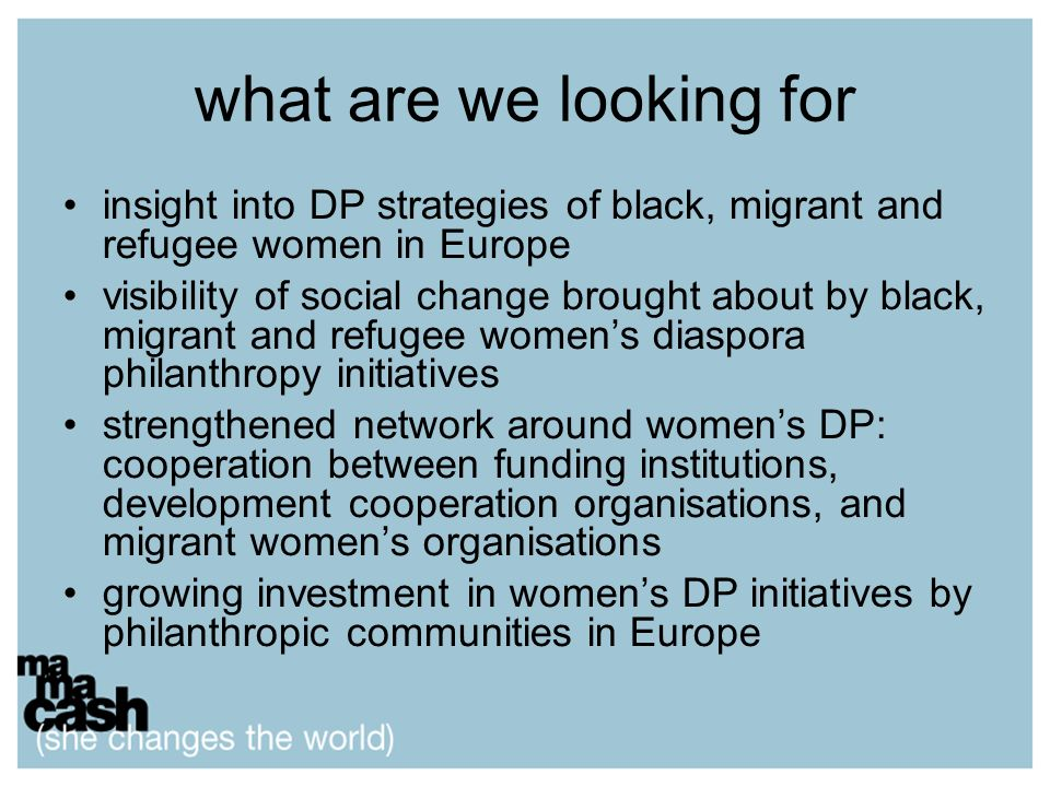 what are we looking for insight into DP strategies of black, migrant and refugee women in Europe visibility of social change brought about by black, m