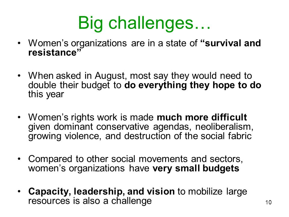 10 Big challenges… Womens organizations are in a state of survival and resistance When asked in August, most say they would need to double their budge
