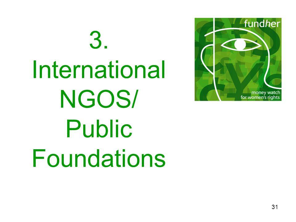 31 3. International NGOS/ Public Foundations