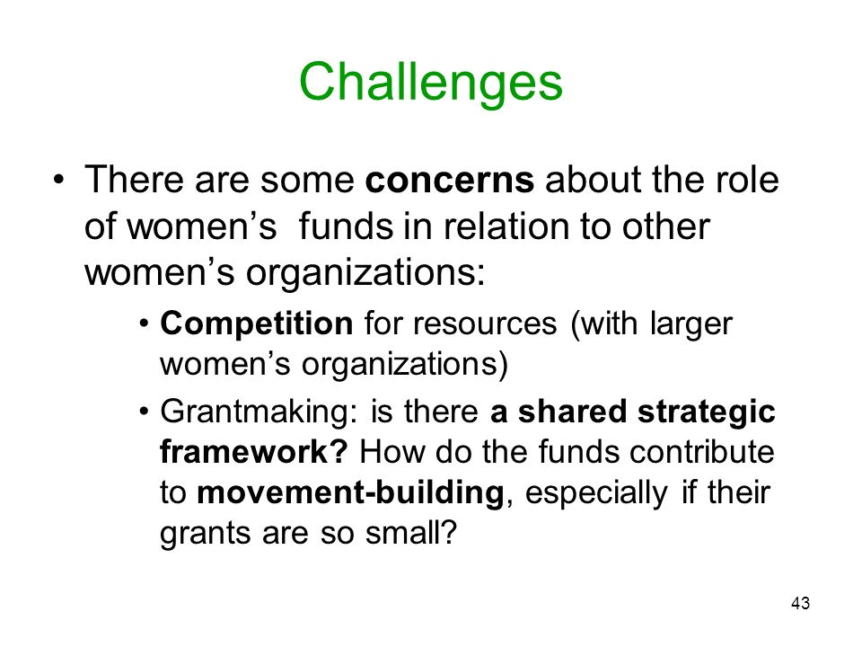 43 Challenges There are some concerns about the role of womens funds in relation to other womens organizations: Competition for resources (with larger