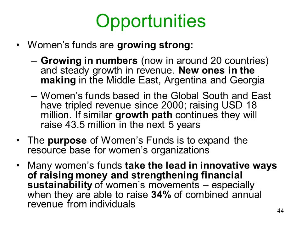 44 Opportunities Womens funds are growing strong: –Growing in numbers (now in around 20 countries) and steady growth in revenue. New ones in the makin