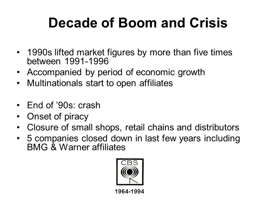 Decade of Boom and Crisis 1990s lifted market figures by more than five times between 1991-1996 Accompanied by period of economic growth Multinational