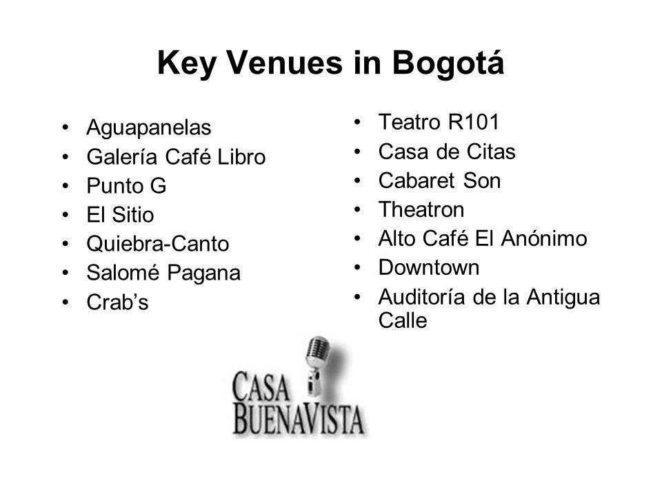 Key Venues in Bogotá Aguapanelas Galería Café Libro Punto G El Sitio Quiebra-Canto Salomé Pagana Crabs Teatro R101 Casa de Citas Cabaret Son Theatron Alto Café El Anónimo Downtown Auditoría de la Antigua Calle