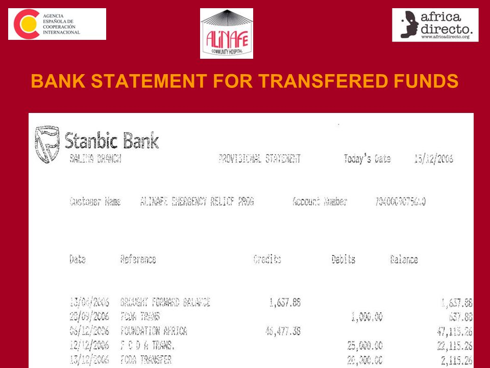 BANK STATEMENT FOR TRANSFERED FUNDS