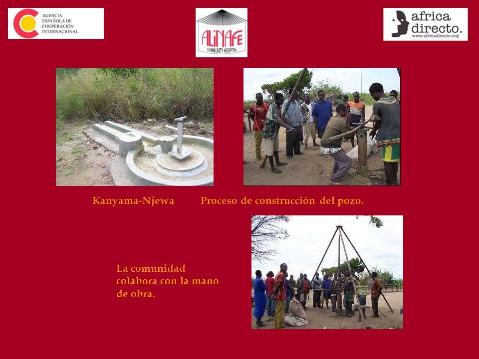 Kanyama-Njewa Proceso de construcción del pozo. La comunidad colabora con la mano de obra.