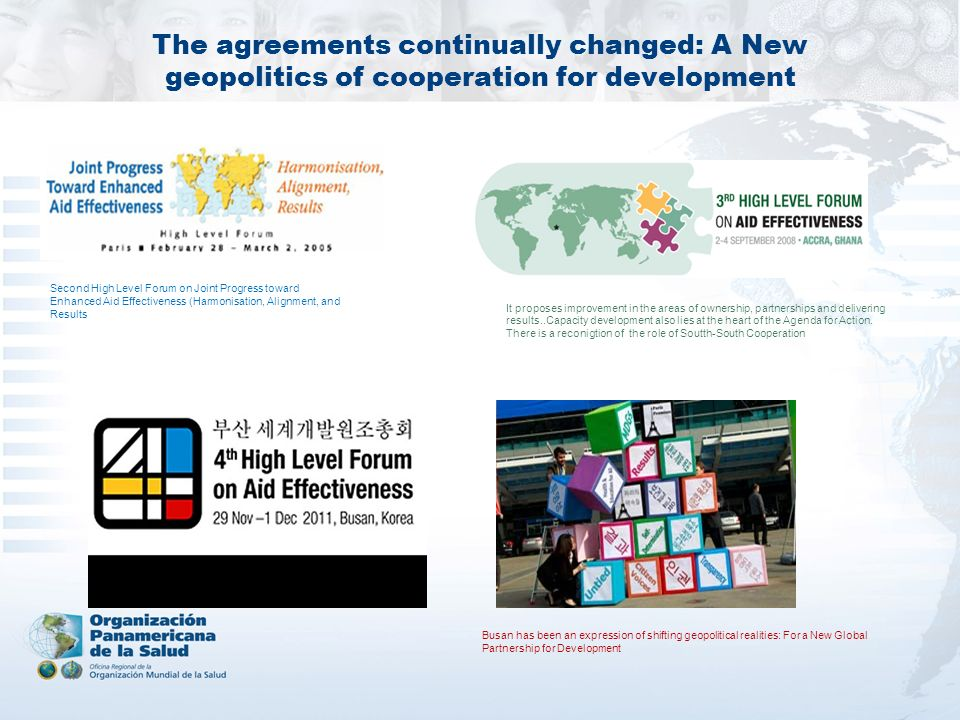 The agreements continually changed: A New geopolitics of cooperation for development Second High Level Forum on Joint Progress toward Enhanced Aid Eff