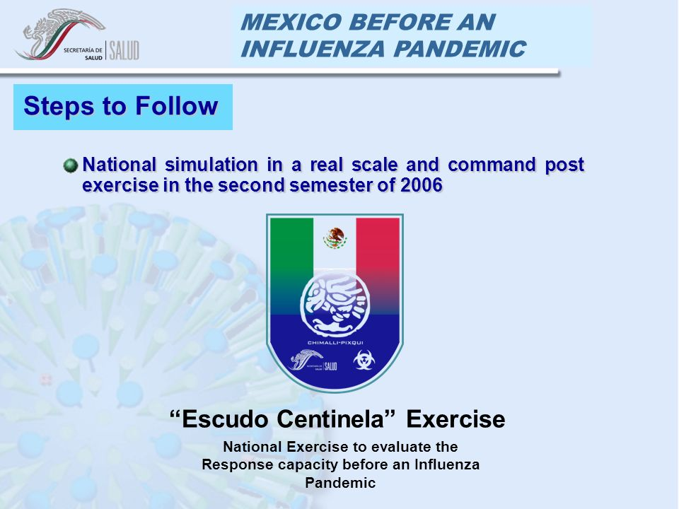 MEXICO BEFORE AN INFLUENZA PANDEMIC Steps to Follow National simulation in a real scale and command post exercise in the second semester of 2006National simulation in a real scale and command post exercise in the second semester of 2006 Escudo Centinela Exercise National Exercise to evaluate the Response capacity before an Influenza Pandemic