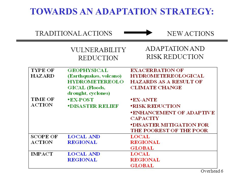 Overhead 6 TOWARDS AN ADAPTATION STRATEGY: ADAPTATION AND RISK REDUCTION TRADITIONAL ACTIONS NEW ACTIONS VULNERABILITY REDUCTION