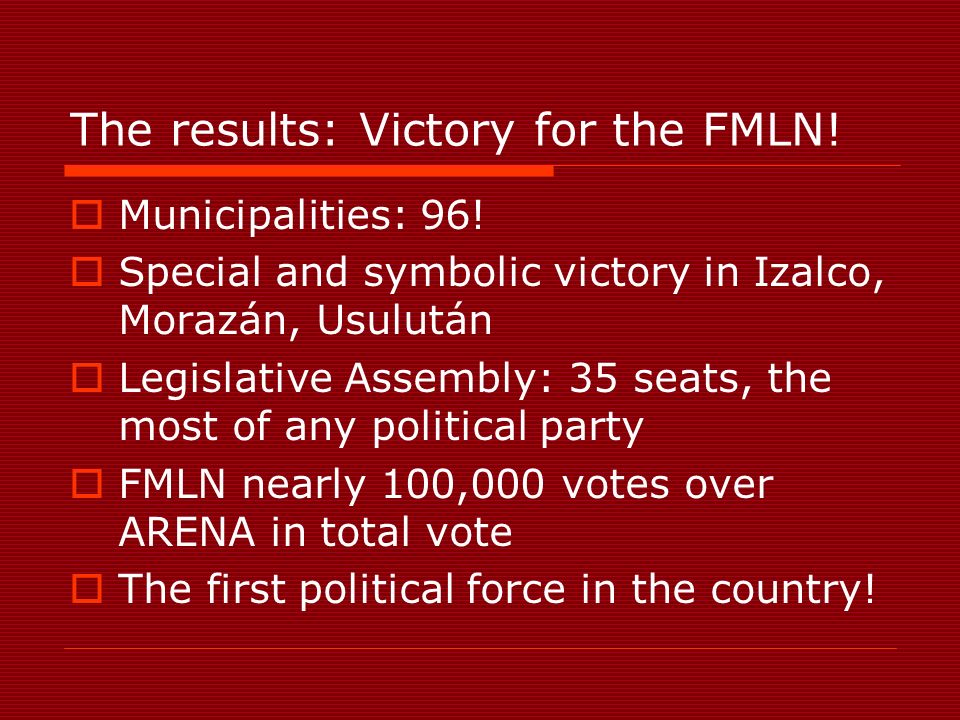 The results: Victory for the FMLN. Municipalities: 96.