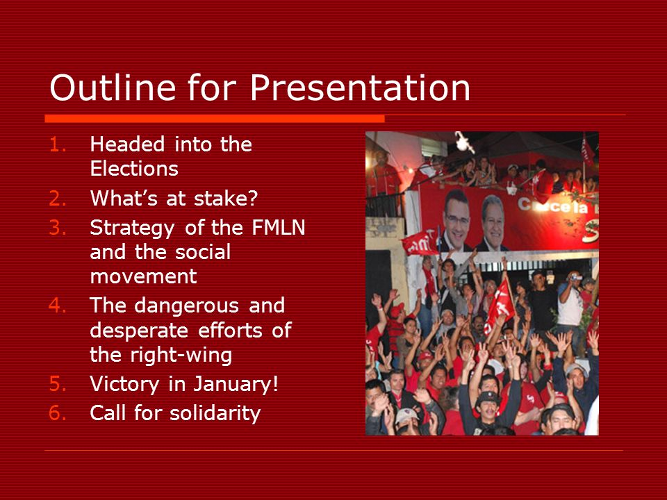Outline for Presentation 1.Headed into the Elections 2.Whats at stake.