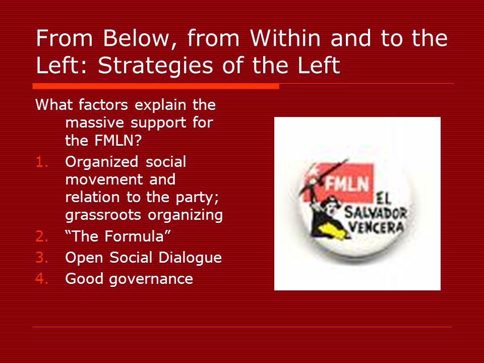 From Below, from Within and to the Left: Strategies of the Left What factors explain the massive support for the FMLN.