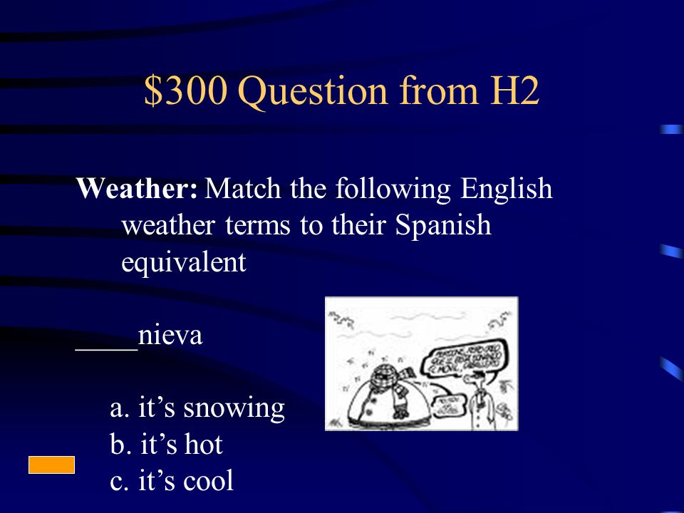 $300 Question from H2 Weather: Match the following English weather terms to their Spanish equivalent ____nieva a.