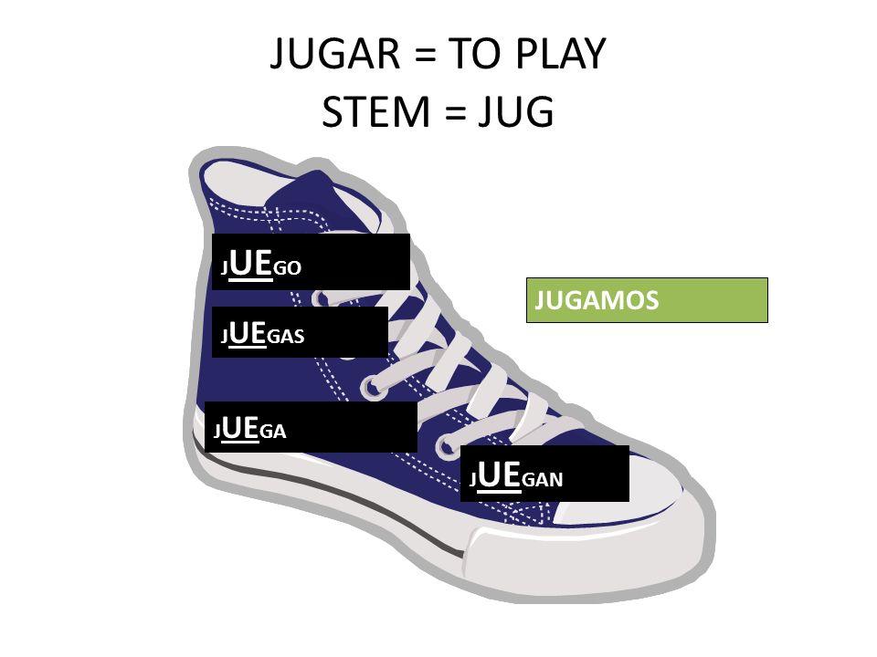 JUGAR = TO PLAY STEM = JUG J UE GO J UE GAS J UE GA J UE GAN JUGAMOS