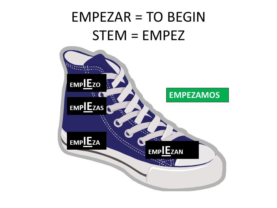 EMPEZAR = TO BEGIN STEM = EMPEZ EMP IE ZO EM P IE ZAS EMP IE ZA EMP IE ZAN EMPEZAMOS