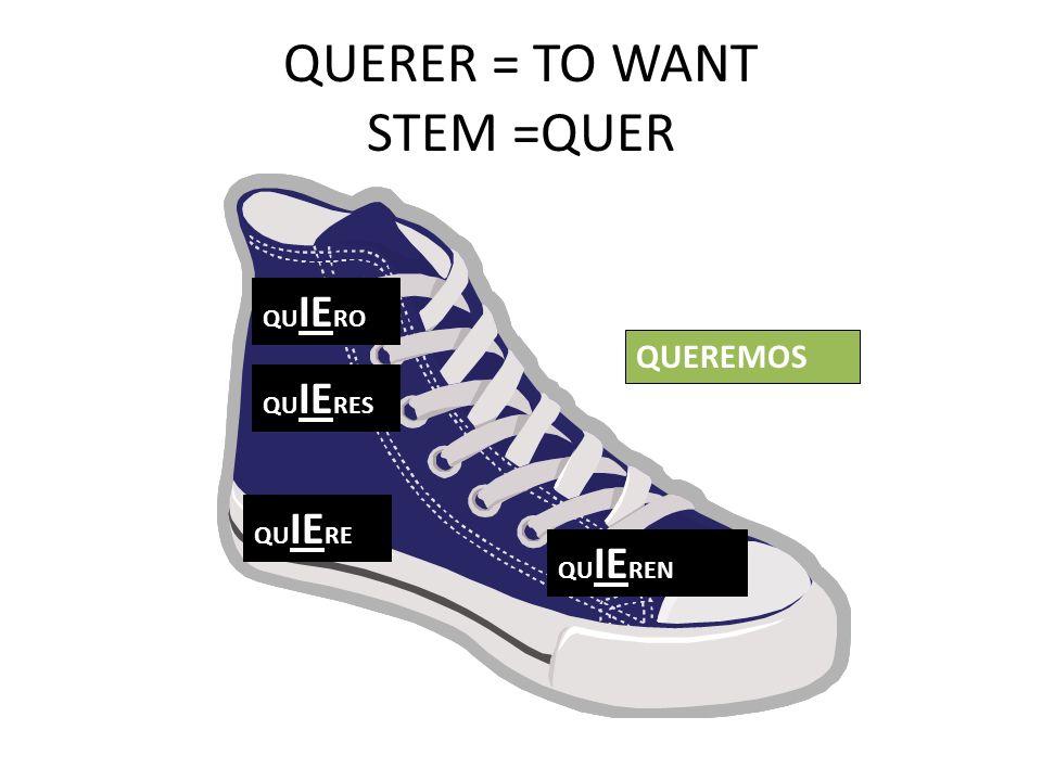 QUERER = TO WANT STEM =QUER QU IE RO QU IE RES QU IE RE QU IE REN QUEREMOS