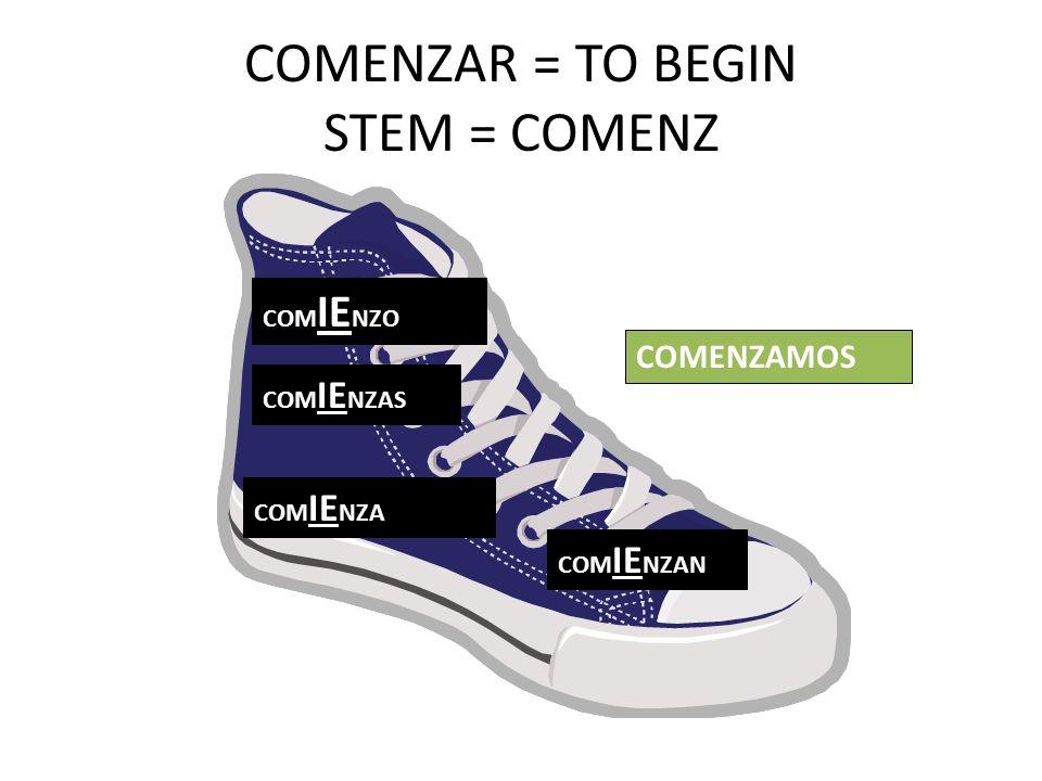 COMENZAR = TO BEGIN STEM = COMENZ COM IE NZO COM IE NZAS COM IE NZA COM IE NZAN COMENZAMOS
