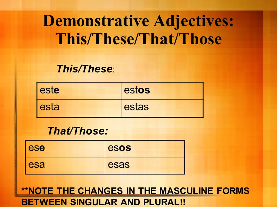 Demonstrative Adjectives: This/These/That/Those esteestos estaestas This/These : That/Those: eseesos esaesas **NOTE THE CHANGES IN THE MASCULINE FORMS