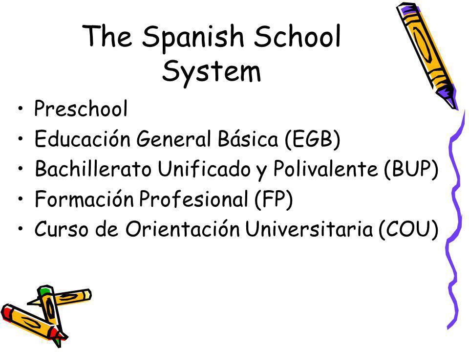 The Spanish School System Preschool Educación General Básica (EGB) Bachillerato Unificado y Polivalente (BUP) Formación Profesional (FP) Curso de Orie