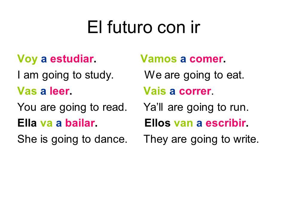 El futuro con ir Voy a estudiar. Vamos a comer. I am going to study.