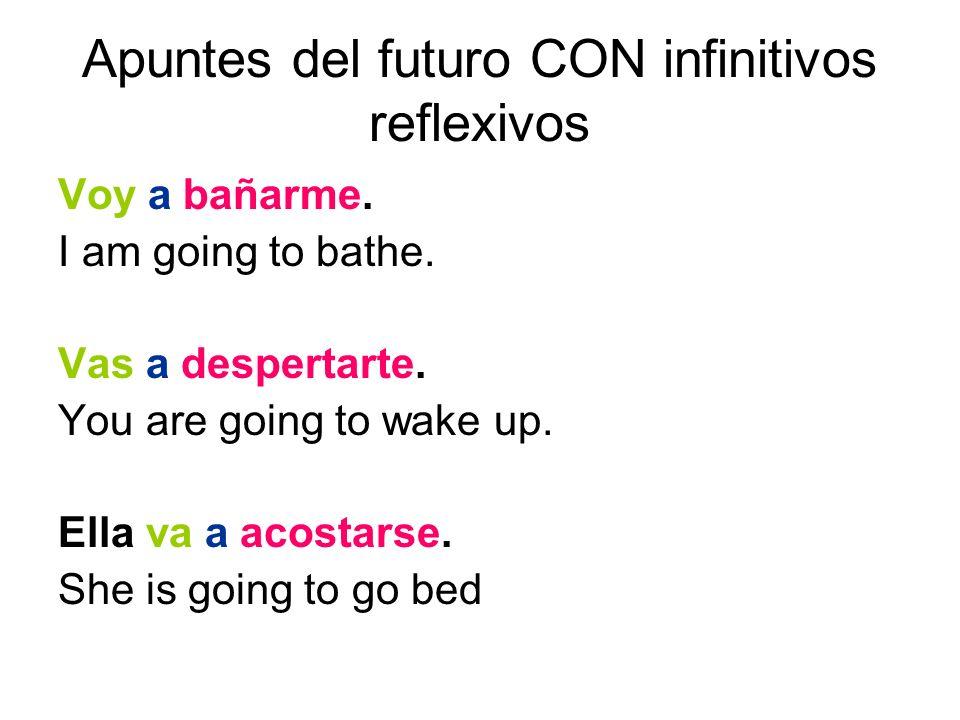 Apuntes del futuro CON infinitivos reflexivos Voy a bañarme.