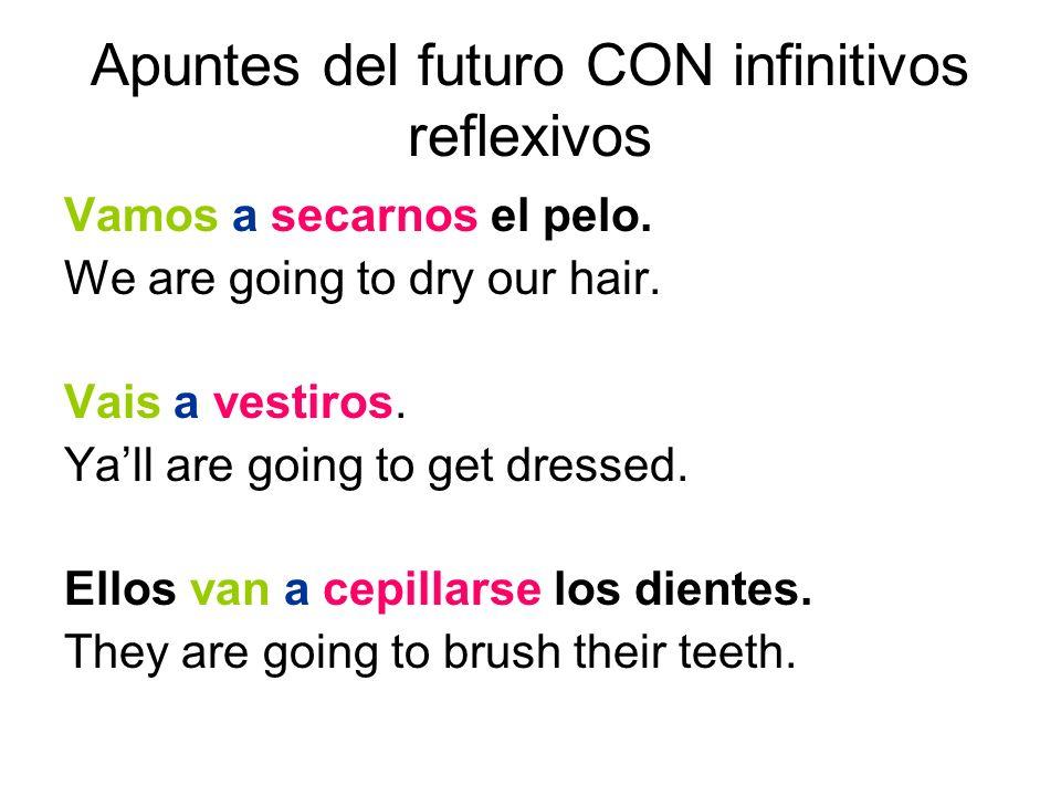 Apuntes del futuro CON infinitivos reflexivos Vamos a secarnos el pelo.
