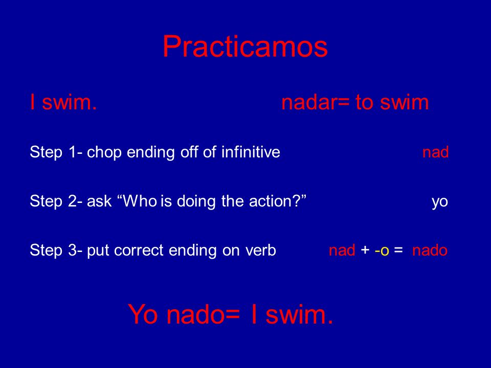 Practicamos I swim. nadar= to swim Step 1- chop ending off of infinitive nad Step 2- ask Who is doing the action? yo Step 3- put correct ending on ver