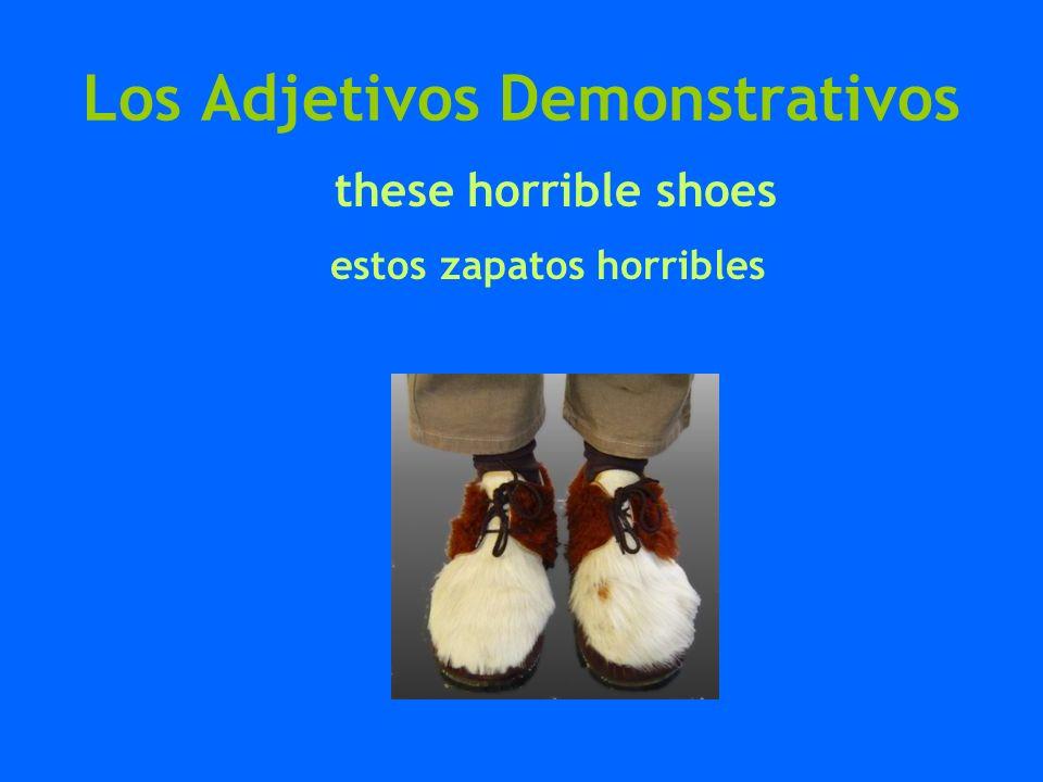 Los Adjetivos Demonstrativos these horrible shoes estos zapatos horribles