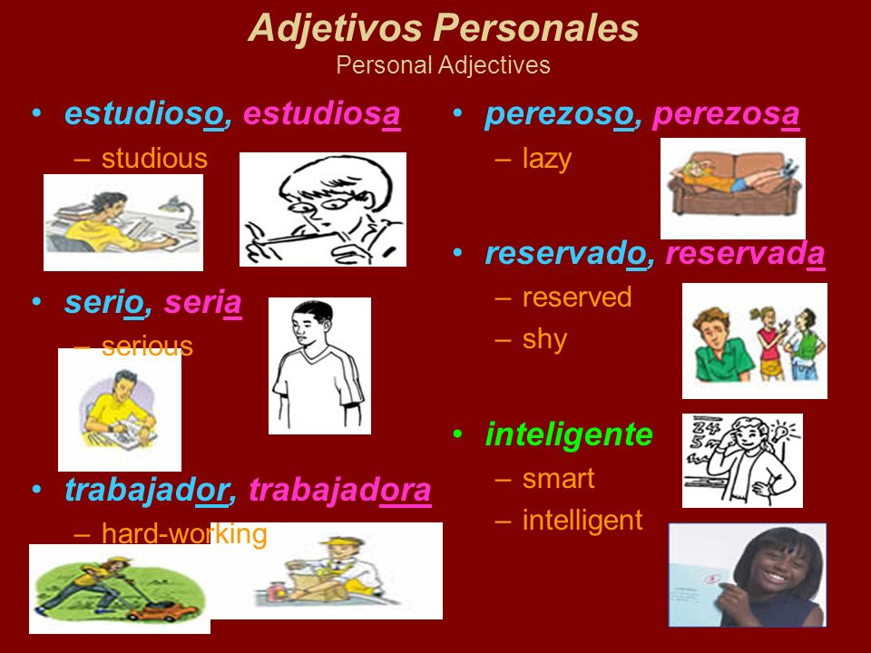 Adjetivos Personales Personal Adjectives estudioso, estudiosa –studious serio, seria –serious trabajador, trabajadora –hard-working perezoso, perezosa